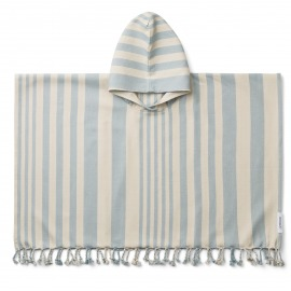 Poncho baño roomie stripe sea blue de Liewood