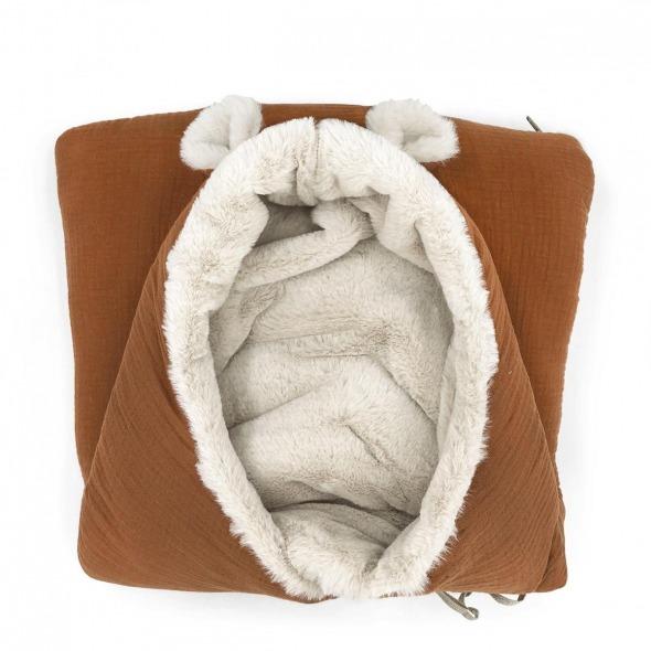 Saco capazo invierno bebé teddy caramel powder de Babyshower
