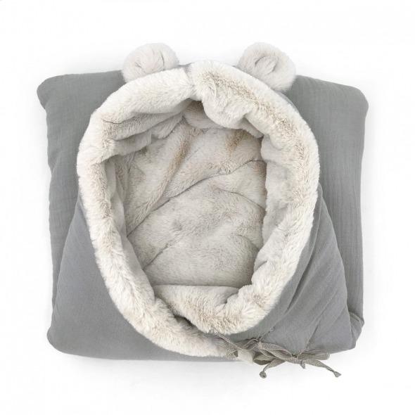 Saco capazo invierno bebé teddy grey powder de Babyshower