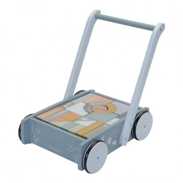 Caminador con bloques madera Ocean blue de Little Dutch