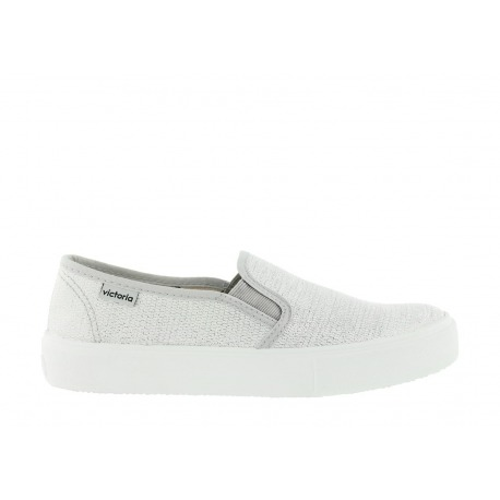 ZAPATILLA SLIP ON LUREX PLATA
