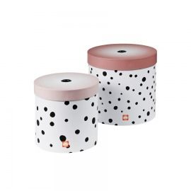 SET 2 CAJAS REDONDAS HAPPY DOTS ROSA