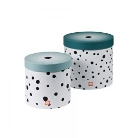 SET 2 CAJAS REDONDAS HAPPY DOTS AZUL