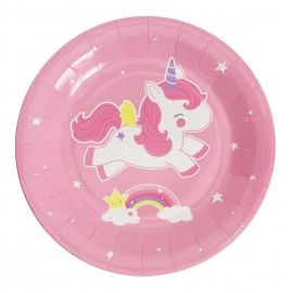PLATOS PAPEL PACK 12, UNICORNIO ROSA