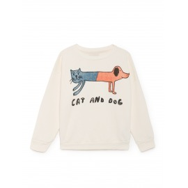 SUDADERA CAT AND DOG BLANCO ROTO