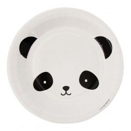 PLATOS PAPEL PACK 12, OSO PANDA BLANCO