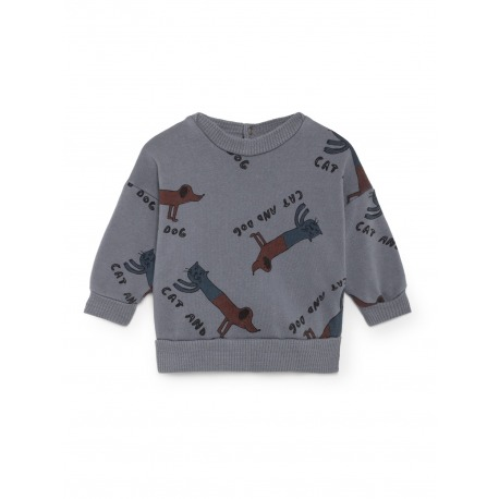 SUDADERA CATS AND DOG GRIS