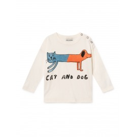 CAMISETA CAT AND DOG BLANCO ROTO