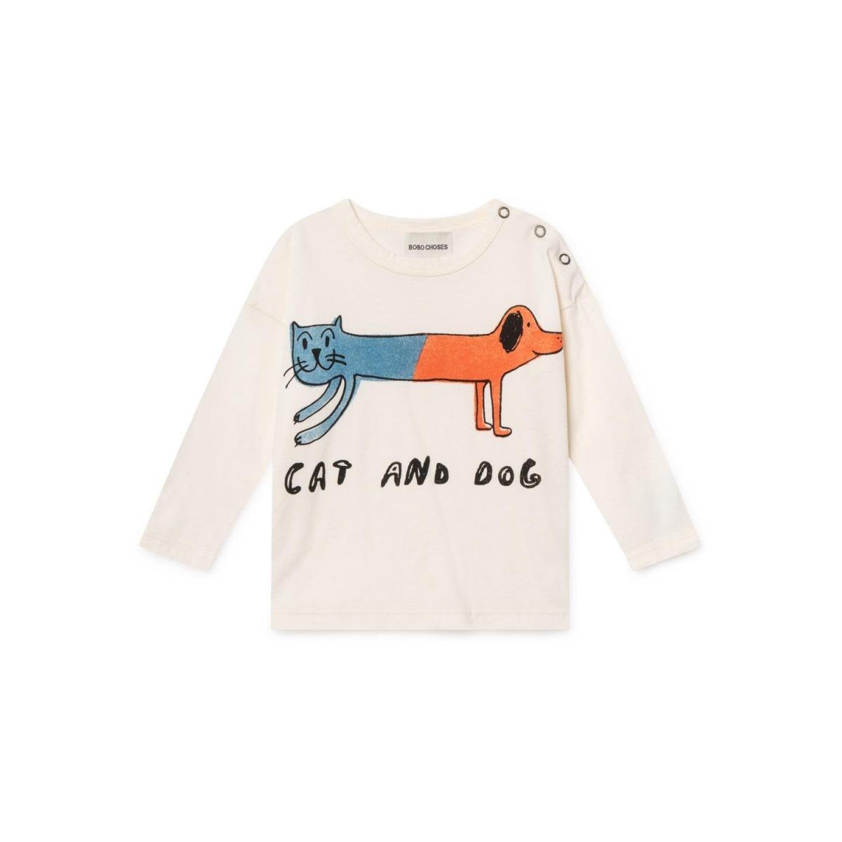CAMISETA CAT AND DOG BLANCO ROTO